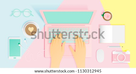 Workspace flat lay stationery in paper art style with pastel color scheme background vector illustration