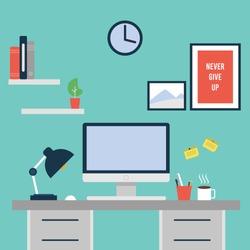 Workspace, flat style Vector, flat design