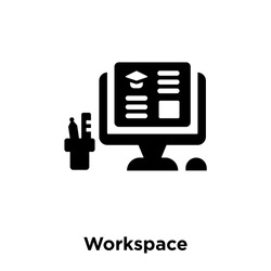Workspace icon vector isolated on white background, logo concept of Workspace sign on transparent background, filled black symbol