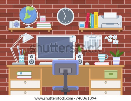 workspace interior with