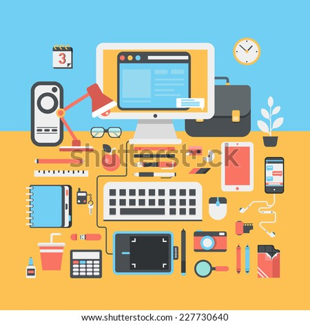 Workspace of creative designer flat modern style design portfolio illustration. Workplace creative business work flow equipment, objects, items, things and device icon set. Flat icons collection.