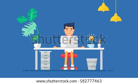 Workspace of Professional Working Developer, Programmer, System Administrator or Designer. Creative idea. Business project or startup concept. Employee office workplace. Vector