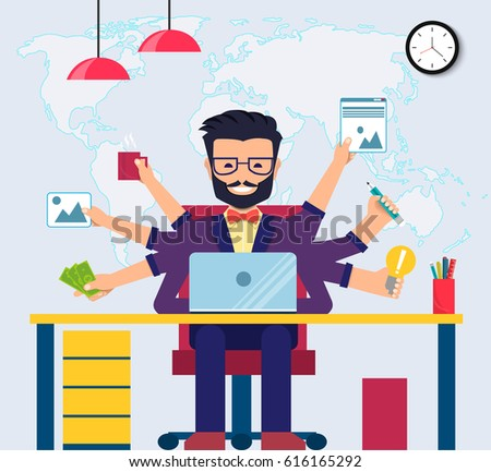 Workspace of Professional Working Developer, Programmer, System Administrator or Designer with desk, chair. Employee office workplace. Vector EPS10