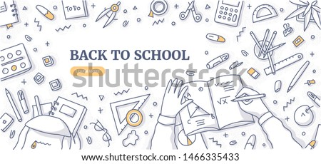 Workspace of school student. School and office supplies on desktop. Top view. Learning and education concept background. Flat lay doodle illustration