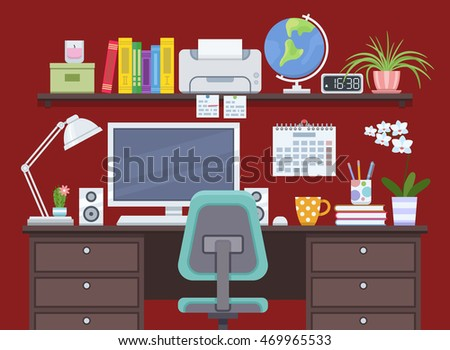 workspace with computer and