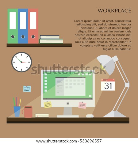 Workspace. Work room modern interior. Workplace with desk, computer, shelves and equipment. Home office. Flat design style, vector illustration.