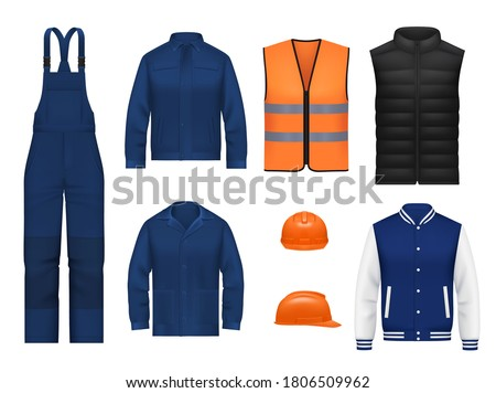 Workwear uniform and worker clothes, vector realistic safety jackets and overall vests. Work wear clothing suits and outfit garments for construction and builders, hardhat helmet and pants mockups