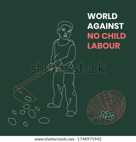 World against no child labour, stop child labour, child labour in India and world. Child holding hoe and collecting pebbles.