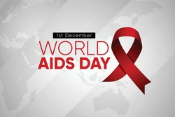 world aids day background. realistic red awareness ribbon on  grey world map background