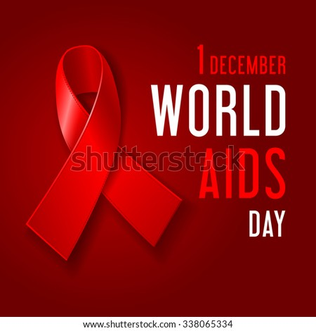 World Aids Day Concept Poster With Red Ribbon Of Aids Awareness