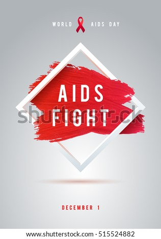 World AIDS Day Concept with Text and Red Ribbon of AIDS Awareness. 1st December. Red Brush Stroke Poster White Background.