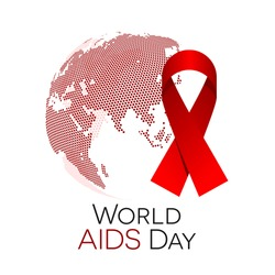 World AIDS day illustration, abstract globe with a red ribbon