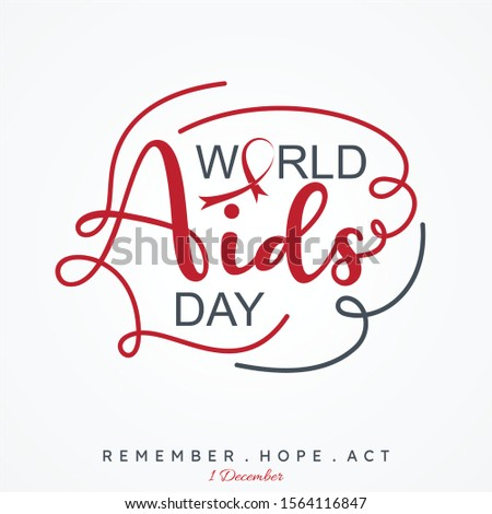 World AIDS Day letter vector concept design on white background. Aids Awareness icon design for poster, banner, background. Vector illustration EPS.8 EPS.10