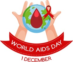 World AIDS Day logo or banner with blood drop on the earth with red ribbon illustration