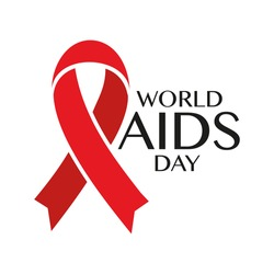 World AIDS Day. Red AIDS ribbon for poster or t-shirt. Vector illustration.