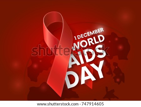 World AIDS Day. 1st December. Red Ribbon, planet. World Aids Day poster.Aids Awareness. Concept with text. Vector illustration