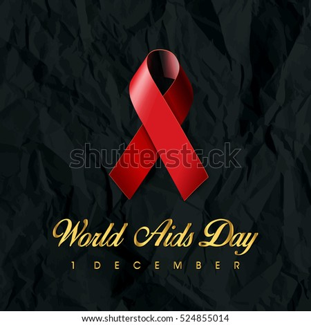 World Aids Day with Red Ribbon on Background. Vector Illustration.