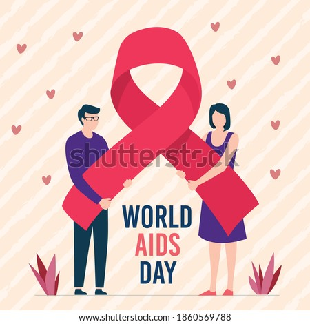 World aids day with two people holding red ribbon.1 December.World Aids Day concept.