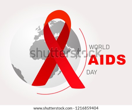 World AIDS Day.  World Aids Day poster.Red ribbon on world globe