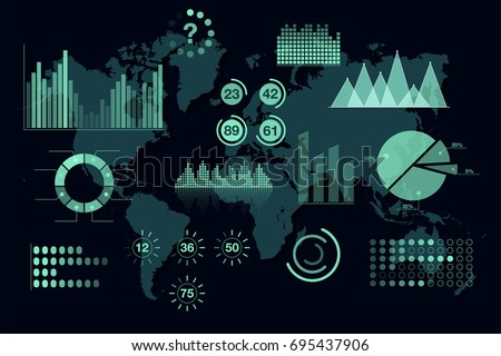 World analytics infographic. Set of transparent graphs and charts, dashboard template. Global statistic information. Vector