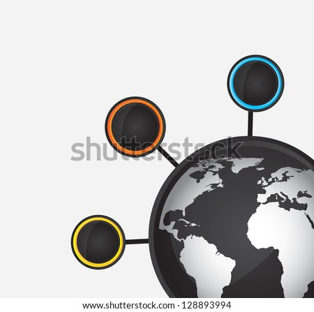 World and circle over white background vector illustration