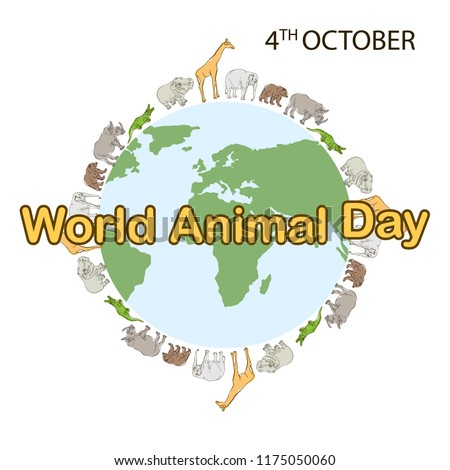 World Animal Day, 4 October. Banner World animal day with with wild animals and planet earth. Animals on the planet, animal shelter, wildlife sanctuary. World Environment Day. Vector illustration