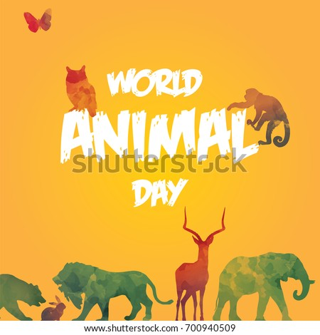 World Animal Day, 4 October. Group of wild animals conceptual illustration vector.