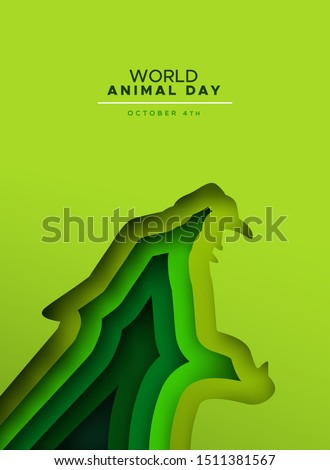 World animal day papercut illustration of wild panther or jaguar cat roaring with open mouth. Endangered species conservation concept, wildlife protection holiday design in paper cutout style.
