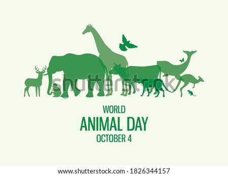 World Animal Day Poster with green silhouettes of wild animals icon vector. Wild animals silhouette set. Environmenta icon vector. Group of animals icon. Animal Day Poster, October 4. Important day