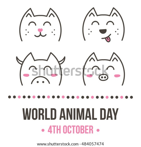 world animal day vector card