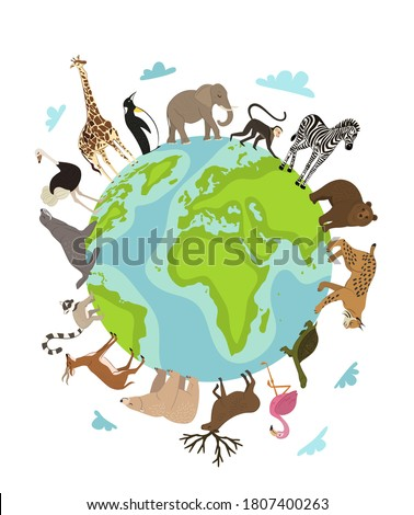 World animal day. Vector earth globe planet and wild animal around on white. Wildlife sanctuary, shelter promotion. Worldwide continent fauna saving from extinction. World environment day illustration Foto d'archivio ©