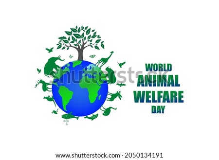 world animal welfare day . world earth surrounded by animals and nature . vector illustration as a poster, banner, template . Foto d'archivio ©