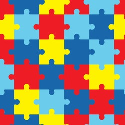 World autism awareness day. 2 April. Colorful puzzles. Medical vector illustration texture. Symbol of autism. Flat style. EPS10.