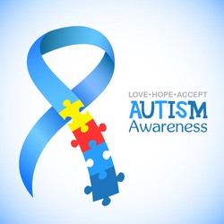 World autism awareness day. Blue ribbon with colorful puzzles vector background. Symbol of autism. Medical flat illustration. Health care