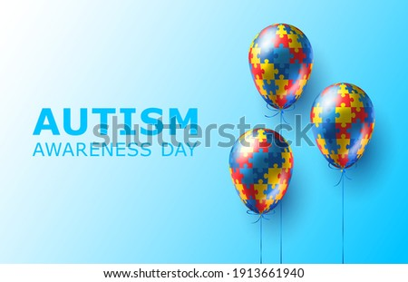 World autism awareness day. Colorful puzzles vector blue background with balloons. Symbol of autism. Medical illustration. Health care. Balloons with puzzles