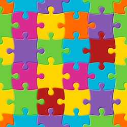 World autism awareness day. Colorful seamless puzzle background. Symbol of autism. Vector Illustration