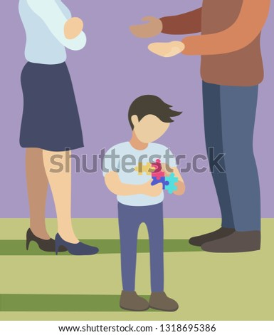 World autism awareness day. Vector illustration. Child with sad parents