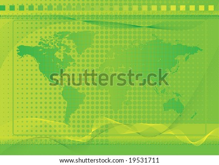 World Background Green Green world background with halftone and dot effects and blends