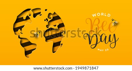 World Bee Day web banner illustration of paper cut earth planet in modern 3d papercut style. Eco friendly holiday event design for worldwide bees conservation.