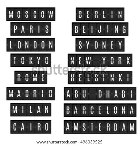 World big cities names in airport time table board style. New york, London, Beijing, Tokyo, Moscow and other megapolises on isolated black timetable. Vector illustration, isolated design elements.