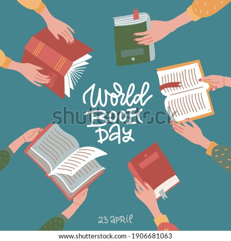 World book day greeting banner with hand drawn lettering. Many hands holding open books on teal background. Education flat vector illustration Foto stock ©