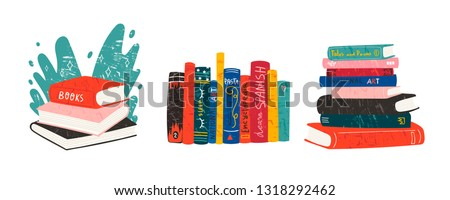 World book day. Various books. Stack of books, books standing vertical isolated on a white background. Set of three hand drawn educational vector illustrations. Every illustration is isolated