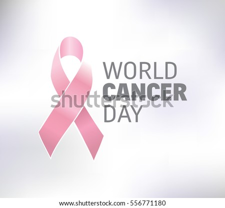 World cancer day, vector design. Typography with pink ribbon. 4 february #556771180