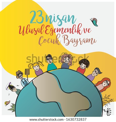 "world children 23 April illustration Translation: ""April 23 National Sovereignty and Children's Day ."""