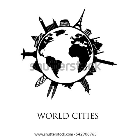 world cities   black and white