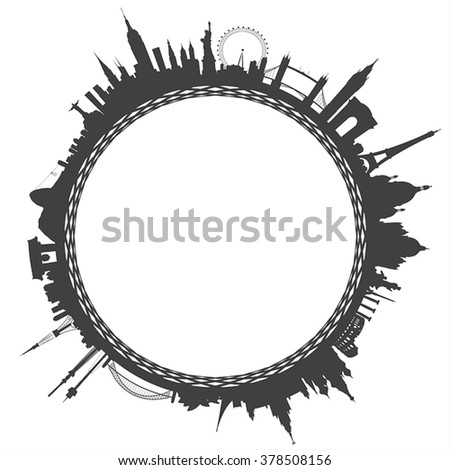 world city landmarks circle