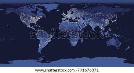 world city lights map night