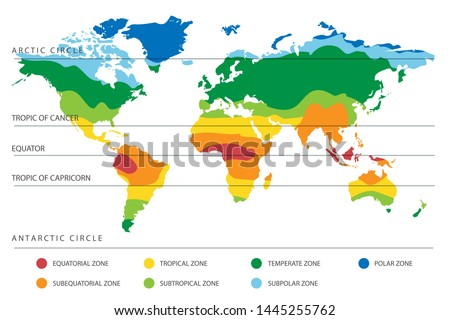 World climate zones map with equator and tropic lines. Vector illustration