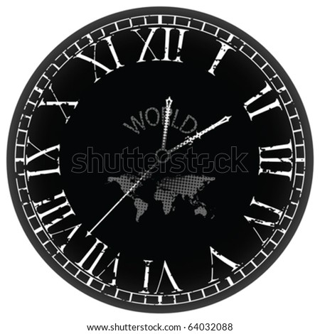 world clock against white background, abstract vector art illustration