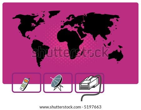 world communication, world map, background - stock vector